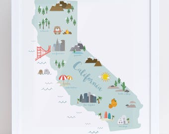 California Giclee Baby Room Cute Illustration Print 11x14 inches