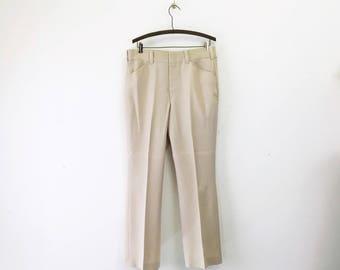 1970s Disco Era Men's Beige Pants Vintage 70s Leisure Suit Era Light Tan Brown Knit Polyester Pants / Trousers by JCPenney - Size MEDIUM