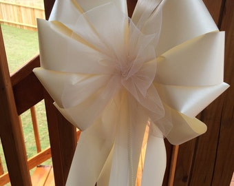 "extra large color tulle white or ivory ribbon pearl bead 12"" wide 29 "" long add your flowers wedding pew chair bows decorations pink coral"