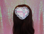 Kawaii Lolita Princess Bunny Two Way Gingham Brooch and Hair Clip