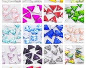 Sew On Flat back TRIANGLE Crystal Rhinestones 10pcs in 12mm | 16mm Color available red, pink, green, blue, purple