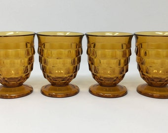 Amber Whitehall Tumblers, 4 Amber 8 Ounce Whitehall Glasses By Colony, Stacked Cubed