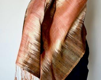 Premium Women Silk Scarf Handwoven Thai Silk Scarf Large Orange and Brown 79 X 25 Hand Fringed Raw Silk Thailand