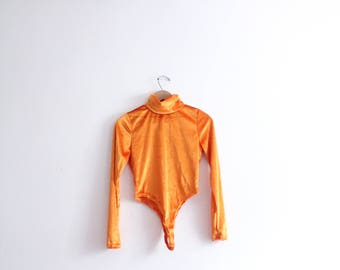 Shocking Orange Velvet Turtleneck Thong Bodysuit