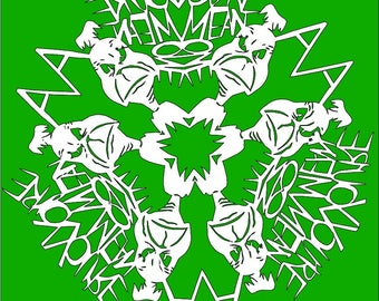 DIY: You're A Mean One, Mr. Grinch Snowflake, digital template*png*jpg* For Cutting by Hand *Seuss Christmas cartoon*