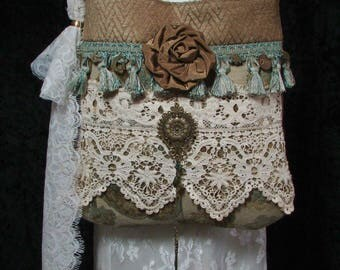 Handmade Upholstery Bag Boho Carpet Bag Vintage Lace Purse Pursuation Free Shipping to US