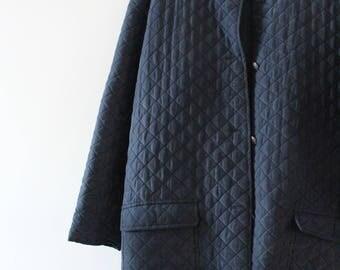 Vintage 100% Silk Quilted Jacket, Navy Black, Size Medium