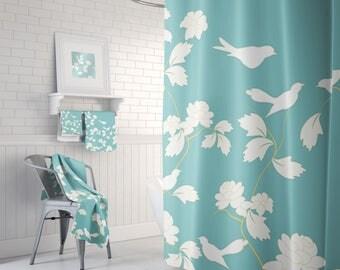 Teal Shower Curtain, Aqua Shower Curtain, Bird Bathroom Decor, Beautiful Shower, Bird Animal Curtain, Bathroom Set, 71x74 Curtain