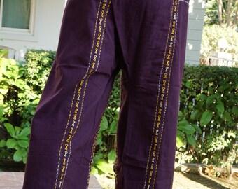 F800 Hand stitch Unisex Thai fisherman pants, stitch Inseam design for Thai Fisherman Pants Wide Leg pants, Wrap pants