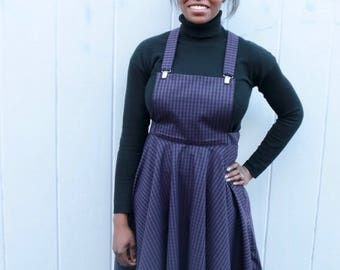 Purple and Black gingham pinafore dress UK size 12-14 handmade circle skirt dress handmade by The Emperor's Old Clothes