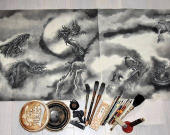 Nine Dragons, Large Original Painting, Japanese Dragon Artwork, Sumi-e Art, Watercolor Poster, Big Art