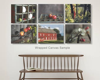 Farm Decor, Country Decor, Rustic Wall Art, Red Kitchen, Grey, Primative, Dining, Red Apple Art, Fall Decor, 6 Print Set