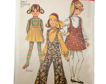 Vintage 1960s Girls Patterns Hippie Style Jumper Culottes Mod Girl Bell Bottom Pants Jumpsuit Size 7 Chest 26  Simplicity 8379