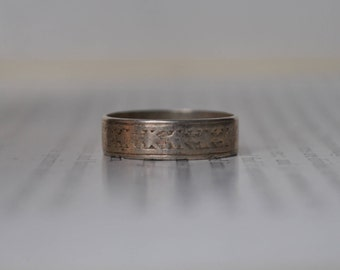 Antique Sterling Ring - 1910s Etched Silver Band