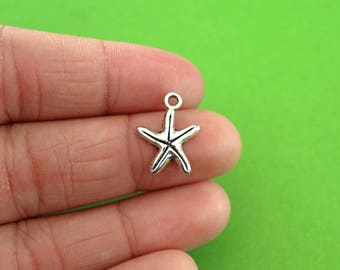 6 Silver Starfish Charms (CH081-6)