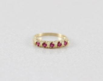 14k Yellow Gold Ruby Ring Size 7