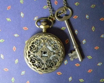 "Cool Neo Victorian Combo: Large Antique ""Skeleton"" Key and Victorian Steampunk Style Bronze Tone Pocket Watch Pendant"