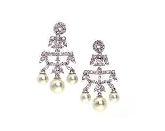 Cubic zirconia&Pearl drop earrings, Bridal pearl earrings, Crystal earrings, CZ chandelier earrings, CZ earrings, Pearl earrings
