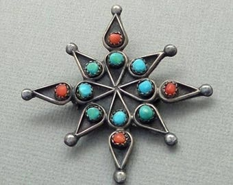 Sale Vintage Native American Indian Jewelry, OLD PAWN Snake Eye Turquoise Coral Brooch, Large Navajo STAR Cross, Gift for Her