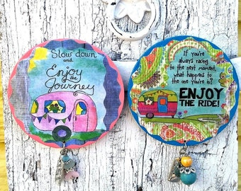Enjoy The Ride Camping MagNet, Refrigerator MagnEt, Fridge MagNet, Glamping, Vintage Camper, EnJoy The Journey, Camping Gift