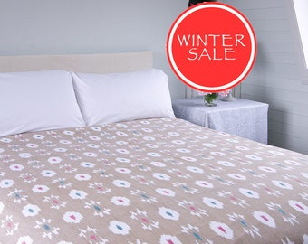 WINTER SALE - IKAT Bedspread -  White background in three different colour options