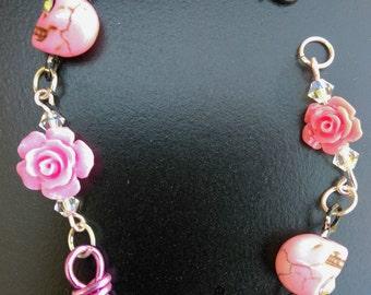 Pink Roses and Skulls Bracelett