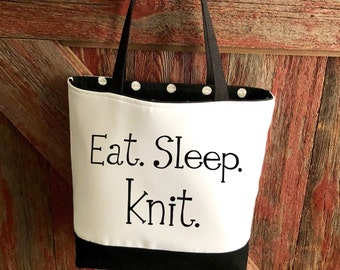 Knitting Project Bag / Funny Knitting Tote / Knitting Bag / Mothers Day Gift / Knitting Tote Bag / Bag to Hold Yarn / Gift for Knitter