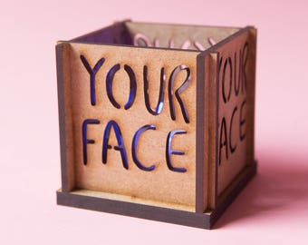 Your Face Tea Light Holder - Insult Tea Light - Insultea - Katie Abey - Sweary gift - Swear gift - Insult gift - Candle