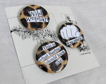 Leopard print feminist buttons | Set of three
