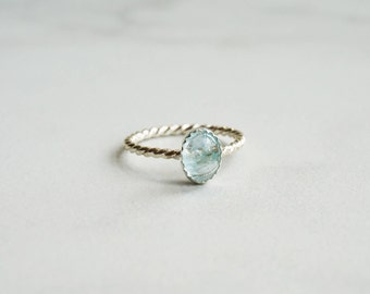 Genuine Light Blue Aquamarine Oval cabochon 8 x 6 mm - Sterling Silver or Solid Gold Twisted Rope Band Ring - Aquamarine ring
