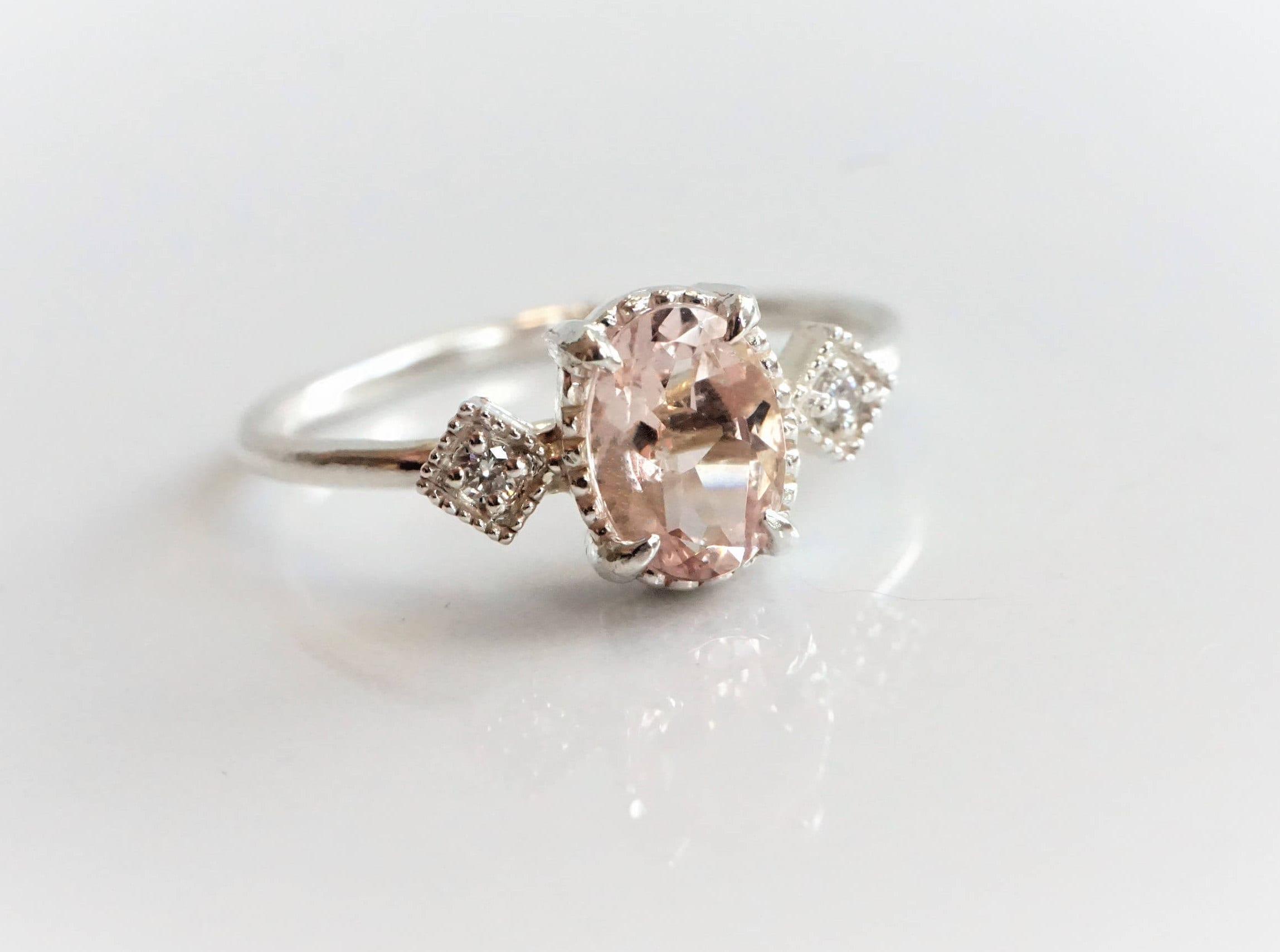cara oval pink morganite 14k gold sterling silver