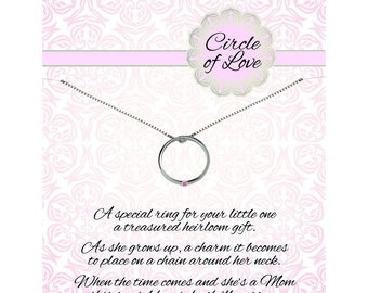 Sterling Silver Circle of Love Charm Necklace for Girls a Special Poem and a Gift Box  (COL-Girl)