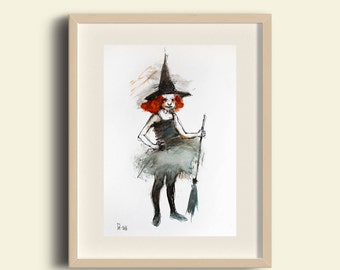 Halloween Art, Halloween Watercolor painting, Halloween Witch. Halloween Card. Halloween Gift. Halloween wall decor. FREE SHIPPING!