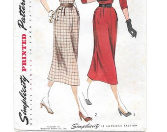 1950s One-Piece DRESS ~ Vintage Sewing Pattern ~ Soft Pleats ~ Button trims Bodice and Pockets ~ Size 14 Bust 32 ~ Simplicity 3363