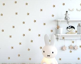 Gold Stars Decal - Golden Stars, Geometric Wall Decal, Wall Decals Nursery, Scandinavian Design, Space Wall Stickers, Nursery Wall Art