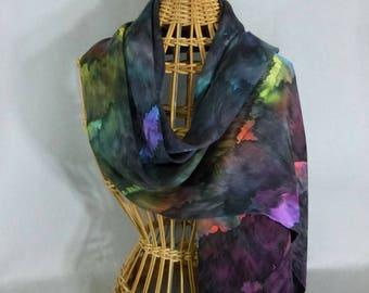 """Silk Scarf/Shawl """"Cloudy Rainbow"""", Hand Painted Silk Jacquard Scarf, Silk Shawl"""