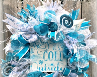 Blue and Silver Christmas Wreath, Baby It's Cold Outside Wreath, Winter Wreath, Ice Blue Wreath, Retro Christmas Wreath, Let It Snow Wreath