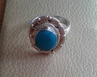 Turquoise silver ring.