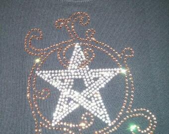 Fancy Pentacle Smoky Topaz Crystal Rhinestone Women's T-Shirt