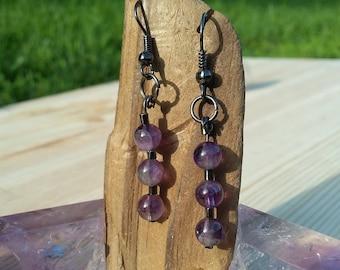 Amethyst stone bead dangle earrings amethyst earrings steel earrings