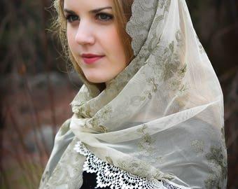 Evintage Veils~ Embroidered Sage Mist 0R Lavender Lace Mantilla Chapel Veil  Mantilla Shawl Wrap