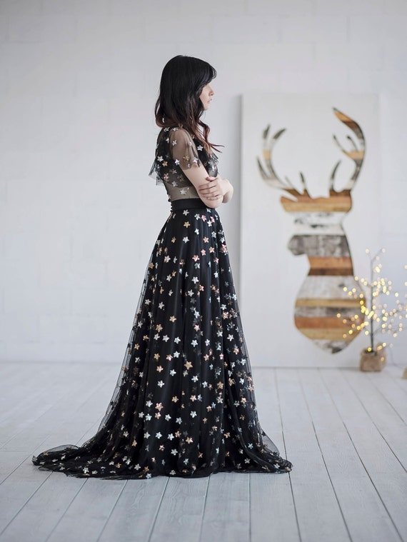 Tamsin - black tulle skirt / black skirt with sequin stars / sequined black skirt / new years outfit / prom skirt / unique skirt
