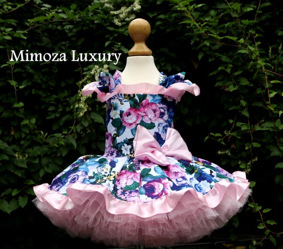Couture Floral Birthday Dress, Girls Infant Birthday Dress, Pink birthday tutu dress, floral pink tutu dress, floral flower girl dress