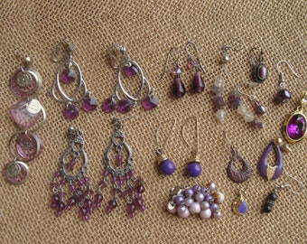 Shabby purple dangle earring craft lot for upcycle, repurpose and salvage - some pairs, mostly singles - beaded earrings