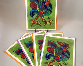 """5 Blank cards 5"""" X 7"""" with envelopes- """"Make a Joyful Noise to the Lord""""  GREEN - Christian greeting card -Cursillo"""