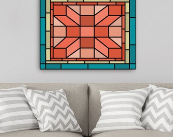 Home Decor, Canvas Wall Art, Stained Glass Canvas Art, Art for the Home, House warming gift, Valentines Day Gift, Art Canvas