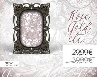 Antique Black Metal Framed, Fancy Jeweled Photo Frame, Gems Nuptial Picture Frame, Marriage, Wedding, Gemstones Baptism, Baby Birth, Nursery