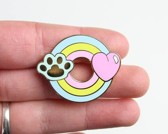 Rainbow pin - hard enamel - brooch - lost pet