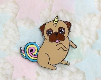Unipug hard enamel pin - unicorn - pug - brooch