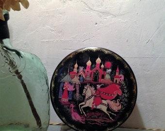 Vintage Tin Litho Box, Vintage tin litho Keepsake Box, tin box 1970, boho tin box 1970, India Scene